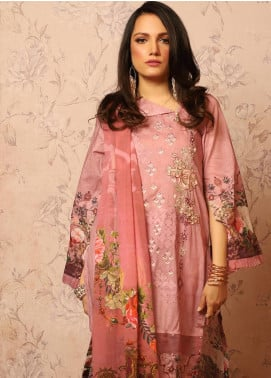 Khas Embroidered Lawn Unstitched 3 Piece Suit KHS20SV KC-5078 Modish Pink - Spring / Summer Collection
