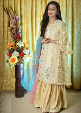 Nargis Shaheen Chiffon Formal 3 Piece Suit for Girls -  NKS-005 Fawn