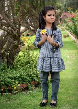 Nargis Shaheen Cotton Formal Girls 2 Piece Suit -  NSK-009 Grey