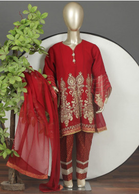 Sanaulla Exclusive Range Chiffon Embroidered Girls 3 Piece Suits -  G-303 Red