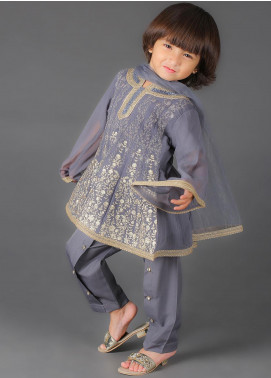 Sanaulla Exclusive Range Cotton Embroidered 3 Piece Suits for Girls -  K-233 Grey