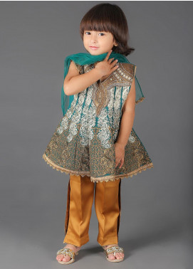 Sanaulla Exclusive Range Cotton Embroidered 3 Piece Suits for Girls - K-260 Ferozi