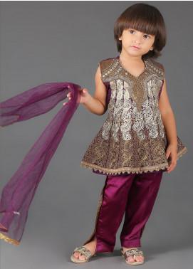 Sanaulla Exclusive Range Cotton Embroidered Girls 3 Piece Suits -  K-260 Purple