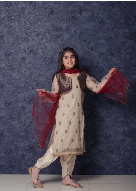 Nargis Shaheen Net Formal 3 Piece Suit for Girls -  NSK-015