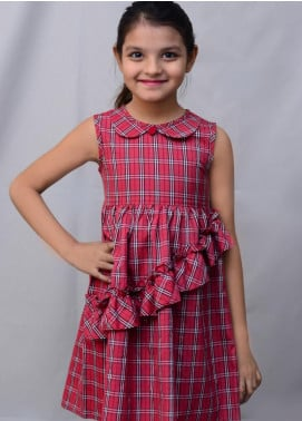 Kids Polo Cotton Casual Frocks for Girls -  KP20GW GSFS 20201 Checked Ruffled Frock