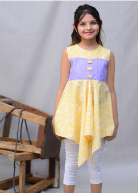 Kids Polo Cotton Casual Girls Frocks -  KP20GW GSFS 20205 Yellow Frock