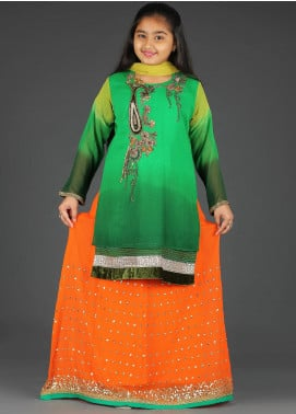 Sanaulla Exclusive Range Chiffon Embroidered 3 Piece Suits for Girls -  G-155 Green