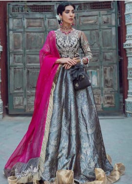 Kinaar by Shiza Hassan Embroidered Jacquard Unstitched 3 Piece Suit SH20KF 07 Mushk - Festive Collection