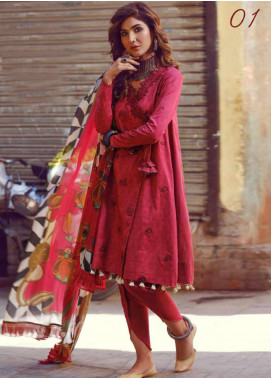 Kinaar by Shiza Hassan Embroidered Lawn Unstitched 3 Piece Suit KSH20SS 01 GULAAL - Spring / Summer Collection