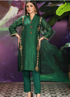 Kross Kulture Embroidered Cotton Net Stitched Kurtis KK21C KE-20758 Green