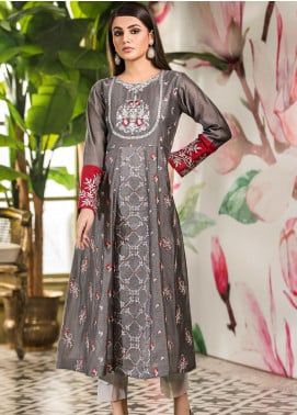 Kross Kulture Embroidered Cotton Net Stitched Kurtis KK21C KX-20698 Grey