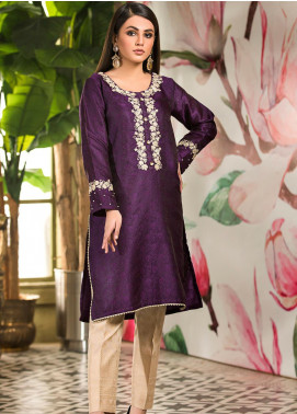 Kross Kulture Embroidered Jamawar Stitched Kurtis KK21C KX-20728 Purple
