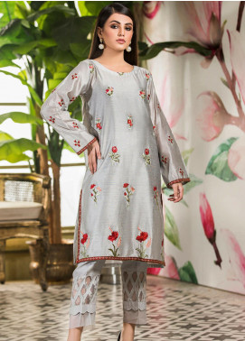 Kross Kulture Embroidered Cotton Net Stitched Kurtis KK21C Lt-Grey KE-20759