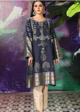 Kross Kulture Embroidered Woven Stitched Kurtis KK21C Navy KX-20925