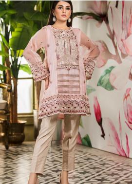 Kross Kulture Embroidered Organza Stitched Kurtis KK21C Pink KX-20901