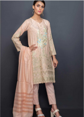 Kross Kulture Embroidered Lawn Stitched 3 Piece Suit BJ-19171 Peach