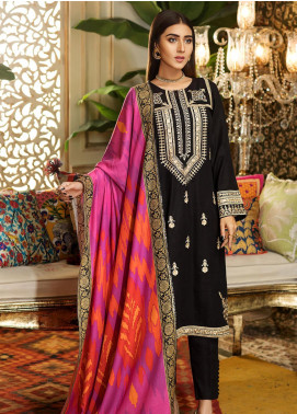 Kross Kulture Embroidered Khaddar Stitched 3 Piece Suit BJ-19434 Black
