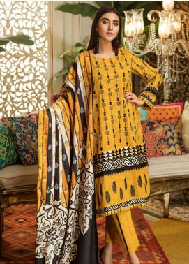 Kross Kulture Embroidered Khaddar Stitched 3 Piece Suit BJ-19437 Ocre