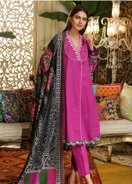 Kross Kulture Embroidered Khaddar Stitched 3 Piece Suit BJ-19439 Purple