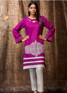 Kross Kulture Embroidered Khaddar Stitched Kurtis BP-19391 Purple