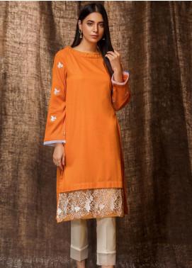 Kross Kulture Embroidered Khaddar Stitched Kurtis BP-19402 Orange