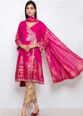 Kross Kulture Embroidered Jacquard Stitched 2 Piece Suit ES-19078 Dark Pink