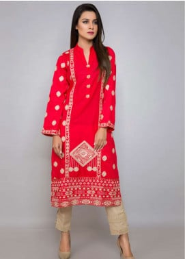 Kross Kulture Embroidered Jacquard Stitched Kurtis ES-19089 Red