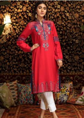 Kross Kulture Embroidered Khaddar Stitched Kurtis FB-19369 Red
