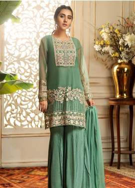 Kross Kulture Embroidered Organza Stitched 2 Piece Suit FM-19319 Sea Green