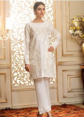 Kross Kulture Embroidered Cotton Net Stitched Kurtis LUX-19140 White