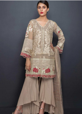 Kross Kulture Embroidered Chiffon Stitched 3 Piece Suit LUX-19237 Beige