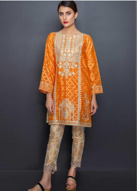 Kross Kulture Embroidered Cotton Net Stitched Kurtis LUX-19243 Rust