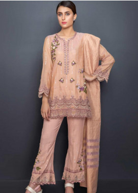 Kross Kulture Embroidered Cotton Net Stitched 3 Piece Suit LUX-19271 Peach