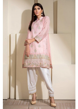 Kross Kulture Embroidered Cotton Net Stitched Kurti KE-20330 Light Pink