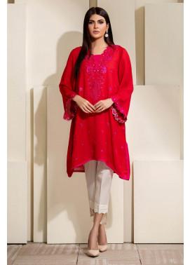 Kross Kulture Embroidered Cotton Stitched Kurti KE-20340 Red