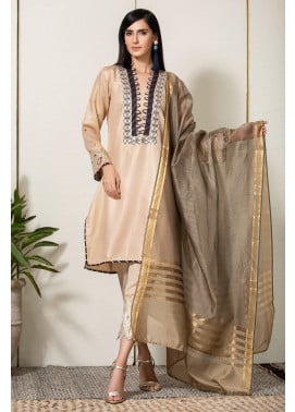 Kross Kulture Embroidered Cotton Net Stitched 2 Piece KE-20361 Beige