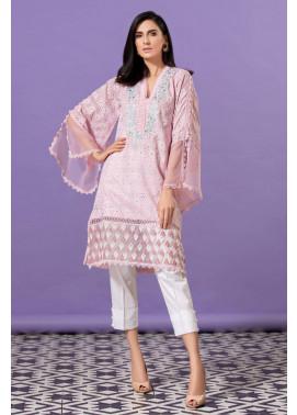 Kross Kulture Embroidered Cotton Net Stitched Kurti KE-20372 Light Pink
