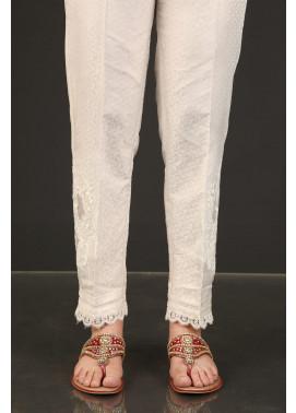 Kross Kulture Textured Silk Stitched Trousers KTR-20826 B White