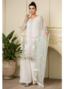 Kross Kulture Embroidered Organza Stitched Suit KX-20318 White