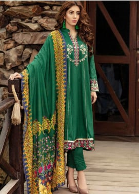 Kross Kulture Embroidered Linen Stitched 3 Piece Suit BJ-19442 Green