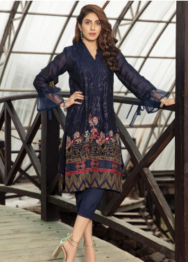 Kross Kulture Embroidered Cotton Net Stitched Kurtis FB-19178 Navy