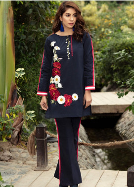 Kross Kulture Embroidered Cotton Stitched 2 Piece Suit FB-19465 Navy
