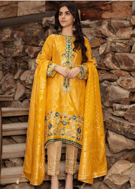 Kross Kulture Embroidered Jacquard Stitched 2 Piece Suit FM-19286 Yellow