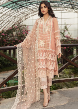 Kross Kulture Embroidered Net Stitched 3 Piece Suit FM-19384 Peach