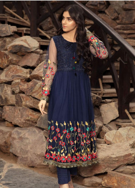 Kross Kulture Embroidered Net Stitched 2 Piece Suit FM-19479 Navy