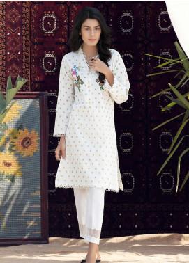 Kross Kulture Formal Cotton Stitched Kurtis KB 20071 WHITE