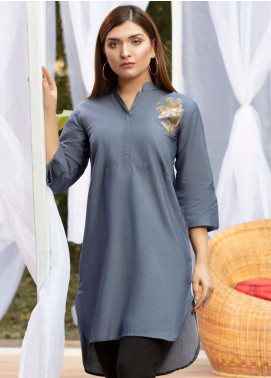 Kross Kulture Casual Chambray Stitched Kurti KB 20072 NAVY