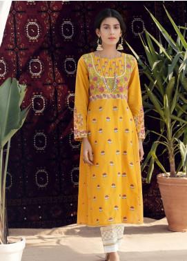 Kross Kulture Casual Lawn Stitched Kurtis KE-20098 Yellow