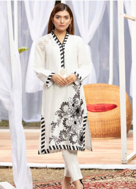 Kross Kulture Casual Cotton Net Stitched Kurtis KE-20113 White