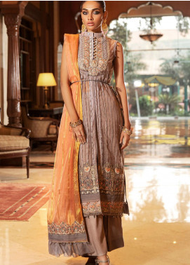 Kross Kulture Embroidered Net Unstitched 3 Piece Suit KK20UN 1D CORAL STONE - Luxury Collection